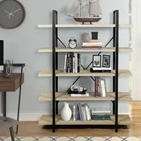 metal frame durable study rack home office book shelves mdf steel industrial style shelf study