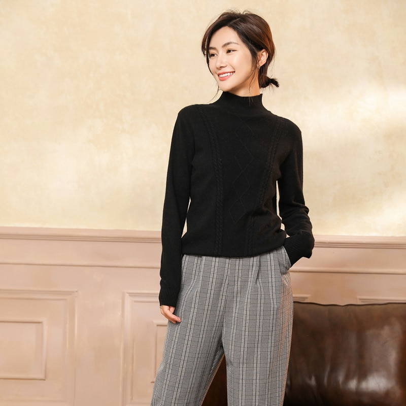 adohon woman winter 100% Cashmere sweaters and autumn knitted Pullovers High Quality Warm Female thickening Turtleneck enlarge