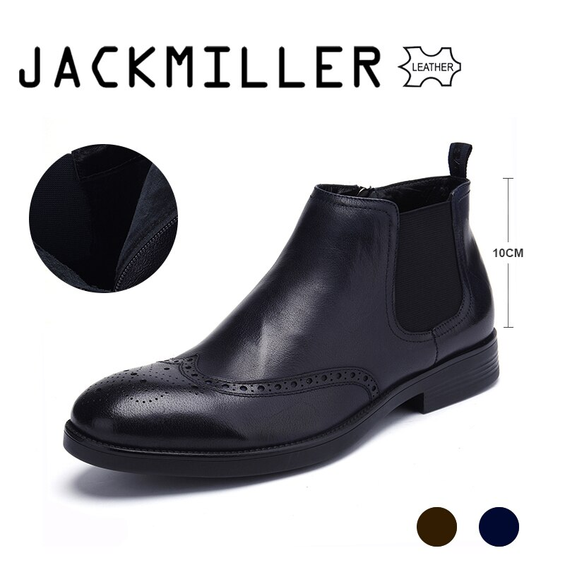 jackmiller men boots high quality cow leather chelsea boots men slip-on goring autumn men shoes wear-resisted dr.brown & dr.navy