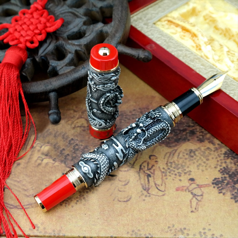 Jinhao Dragon regalo Oficina Phoenix pesado gris rojo pluma estilográfica