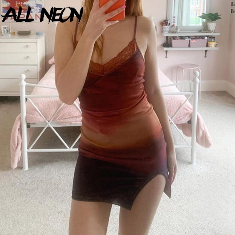 ALLNeon 90s Fashion Tie Dye Print Lace Trim Cami Dresses Y2K Vintage V-neck Spaghetti Strap Slit Hem Mini Dress Summer Short New