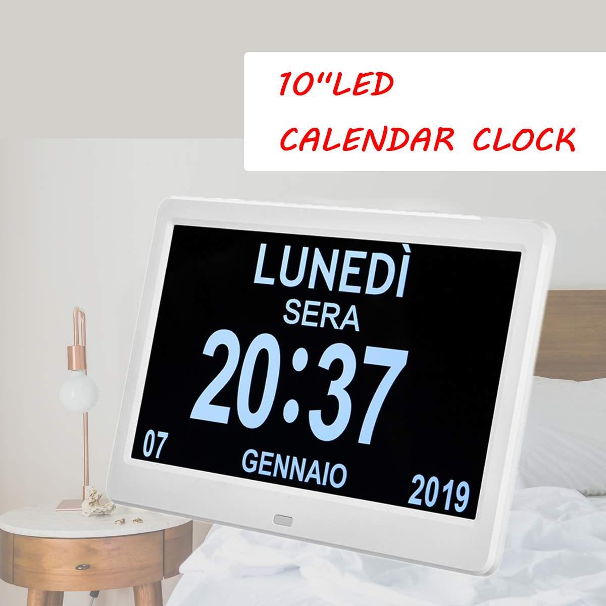Reloj Digital LED calendario día decoración del hogar día/semana/mes/año para adolescentes/Personas Mayores/ soporte para problemas de visión nocturna