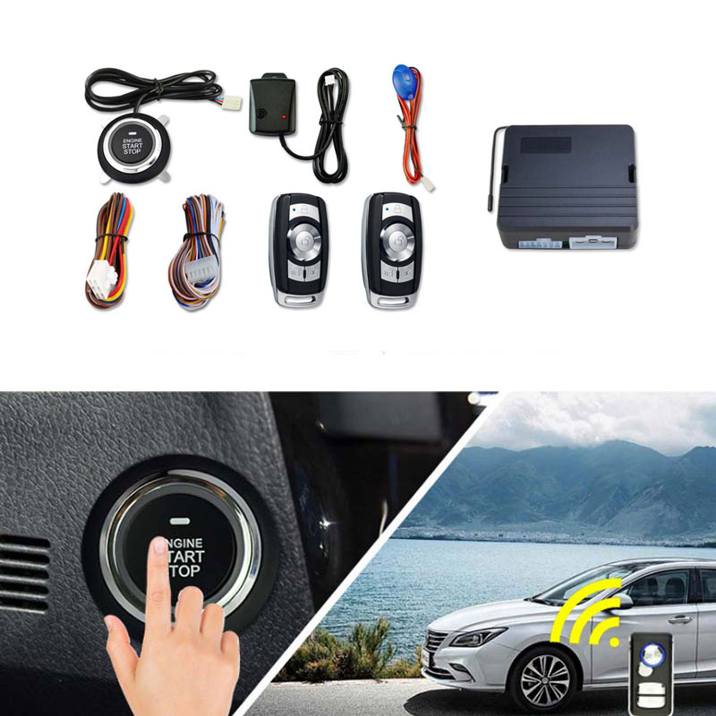12V Universal Car Auto Smart Alarm System Remote  Central Kit Door Locking Vehicle Keyless Entry System  Engine Start Button
