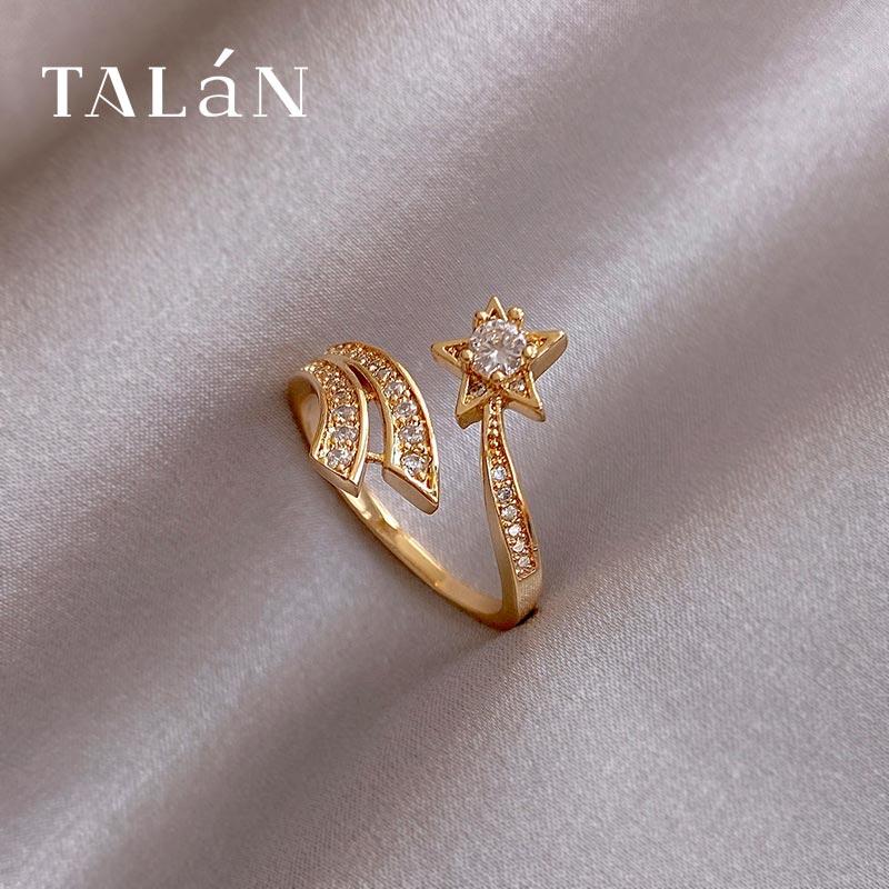 Golden Popular Open Ring New Design Shiny Diamond Ring High Grade Sense Fashion Ring Internet Celebr
