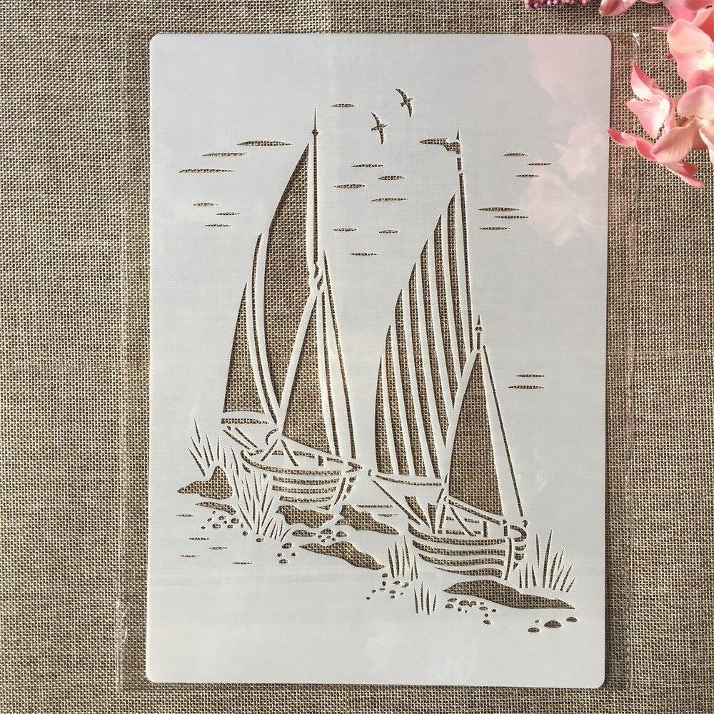 A4 29cm dos barcos de vela DIY esténcil de capas de pared pintura libro de recortes colorear en relieve álbum plantilla decorativa