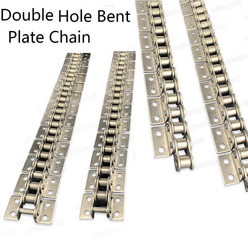 سلسلة النقل الصناعي 304 سلاسل لوحة منحنية من الفولاذ المقاوم للصدأ مع الأذن 08B ، جانب واحد ، ثقب مزدوج