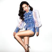 Zilveren Strass Parels Blauw Shirt Korte Lace Cap Vrouwen Dancer Show Outfit Set Bar Dans Slijtage Outfit Set Youdu