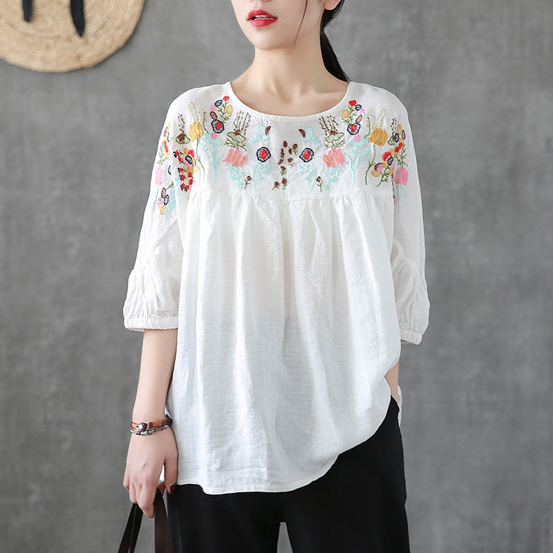 White Tunic Linen Shirt Women Vintage Clothes Cotton High quality Embroidery Blouse Plus size Ladies Tops Casual