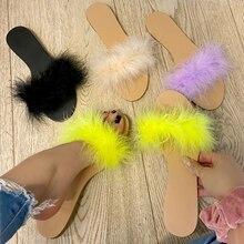 NAN JIU MOUNTAIN 2020 Summer Women Sexy Sandals Feather Flat Slippers Comfortable Vacation Sandals Open Toe Plus Size 34-42