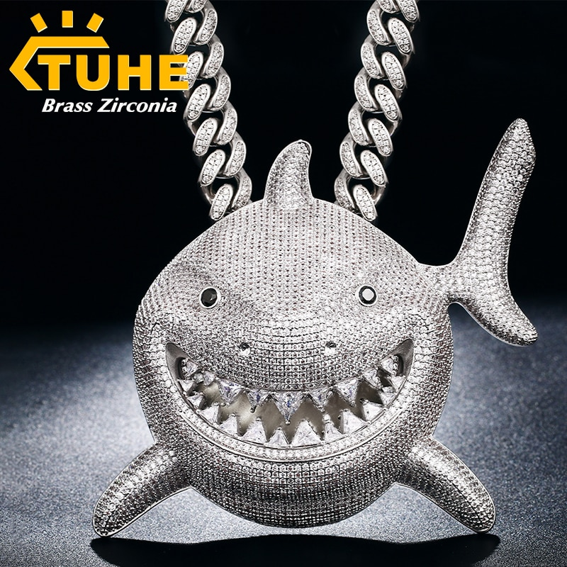 Promo High Quality Over Size Iced Out Shark Pendant Necklace Full Bling CZ Stone For Men Hip Hop Jewelry Cubic Zirconia Animal Pendant