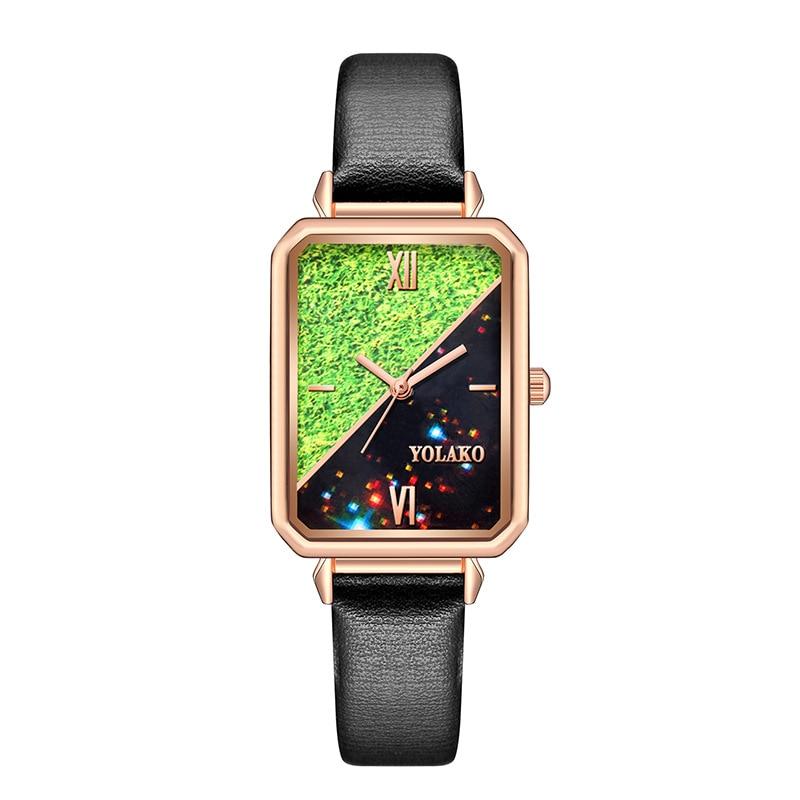 Rectangular Malachite Color Dial Small Women's Watch Women's Watch Leather Strap Quartz Women's Watch Retro Small Square Watch enlarge