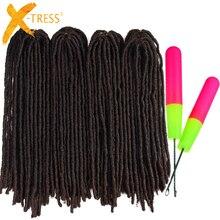 Extensions de tresses synthétiques 18-26 pouces   Postiches lisses et douces en Faux Locs au Crochet, couleur marron ombré,