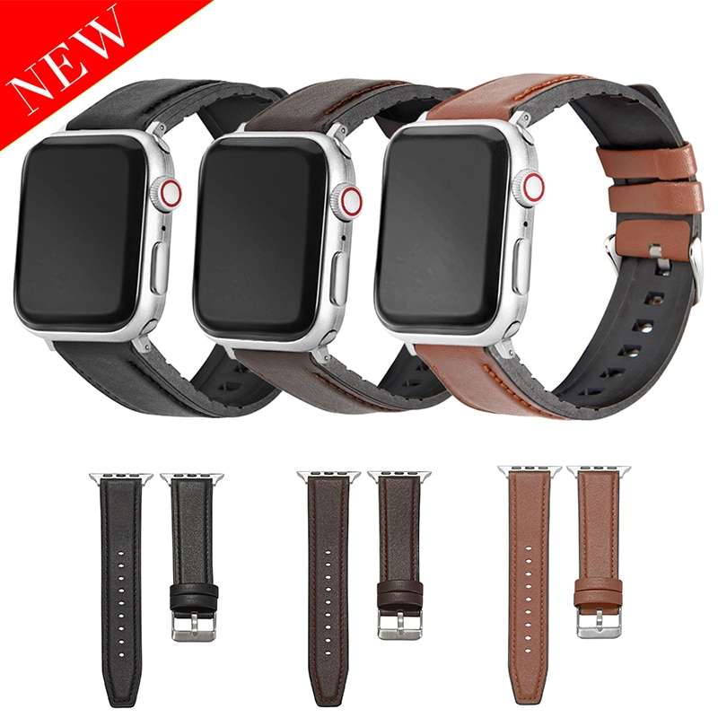 Silicone + leather strap wristband, suitable for Apple Watch 38-40mm 42-44mm smart wristband