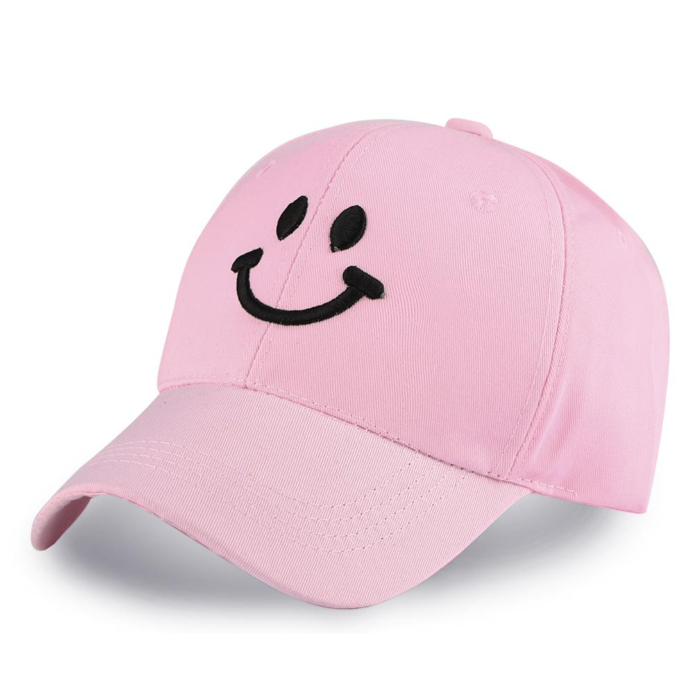 Meninas bonitos snapback chapéus rosa sorriso rosto bordado bonés de beisebol para mulher senhoras ajustável algodão golfe esporte protetor solar viseiras