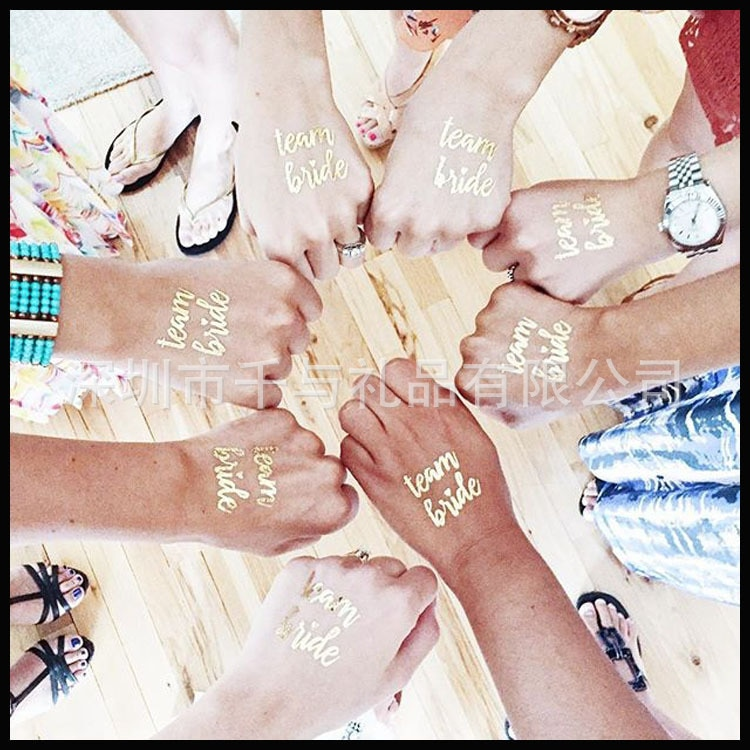10 Uds. Equipo de despedida de soltera novia dama de honor tribu tatuaje temporal despedida de soltera pegatina dorada de una sola vez para ser suministros de boda