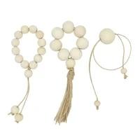 wooden beads jute tassel rope farmhouse natural handmade holder for wedding decoration dinner parties everyday