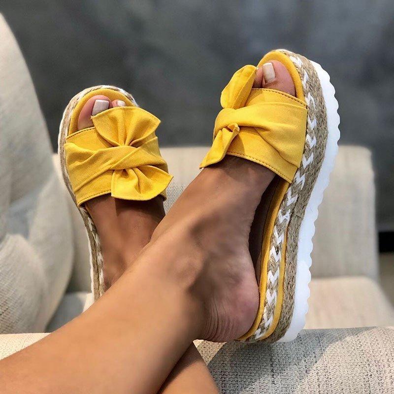 2020 sandalias de verano con lazo bonitas e informales cómodas para uso diario, sandalias de plataforma para mujer, vestido de fiesta, zapatillas con dedos descubiertos para mujer