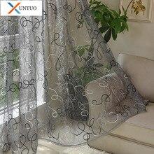 Rideaux de Tulle brodés modernes pour rideaux de Voile de chambre à coucher de salon dans la cuisine pour les rideaux de tissu de traitement de fenêtre
