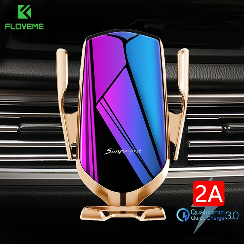 FLOVEME Qi Automatic Clamping 10W Wireless Charger Car Phone Holder Smart Infrared Sensor Air Vent M