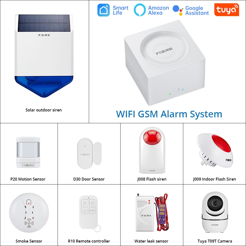 Система сигнализации Fuers G95 для умного дома, Комплект охранной сигнализации Wi-Fi GSM с управлением через приложение Alexa Tuya