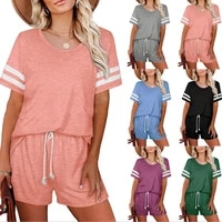 shorts top women suits short sleeve casual stripe pocket outfits lounge wear matching 2 piece sets summer clothes dropshipping