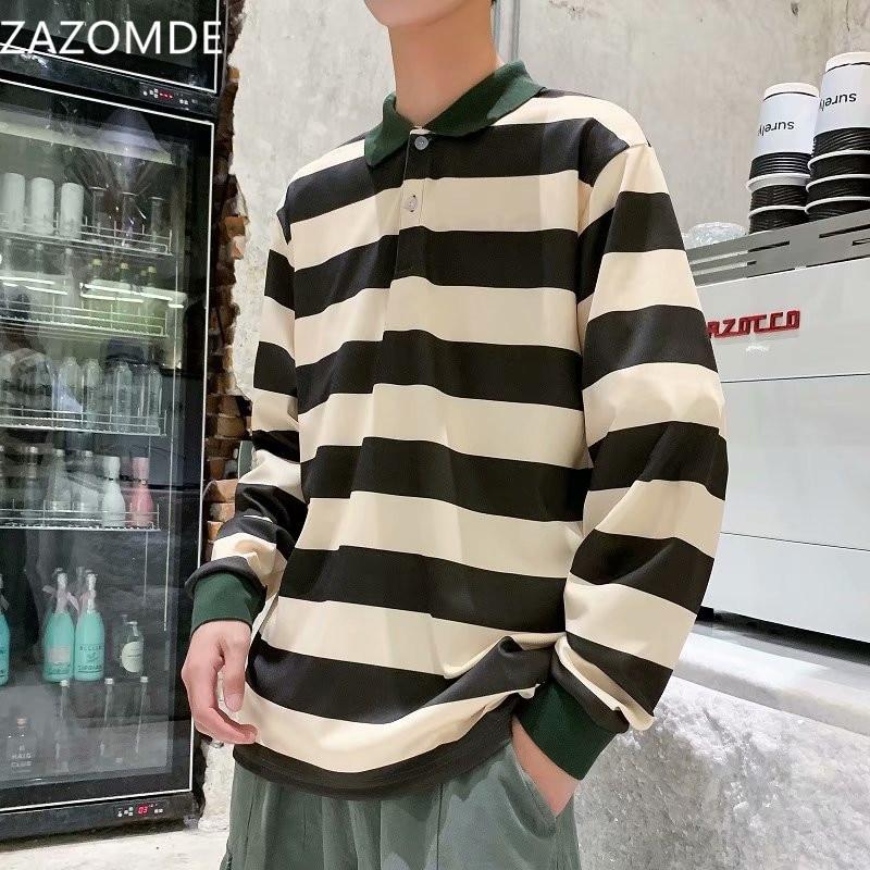 ZAZOMDE قميص بولو مُقَلّم الرجال قميص قطني بكم طويل عادية تيز 2020 خريف جديد الذكور المتضخم بولو قميص الرجال الموضة حجم كبير