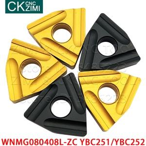 10 шт. WNMG080408L-ZC YBC251 WNMG080408L-ZC YBC252 карбидные вставки долбежные токарные инструменты CNC металлический токарный инструмент WNMG 08 для стали