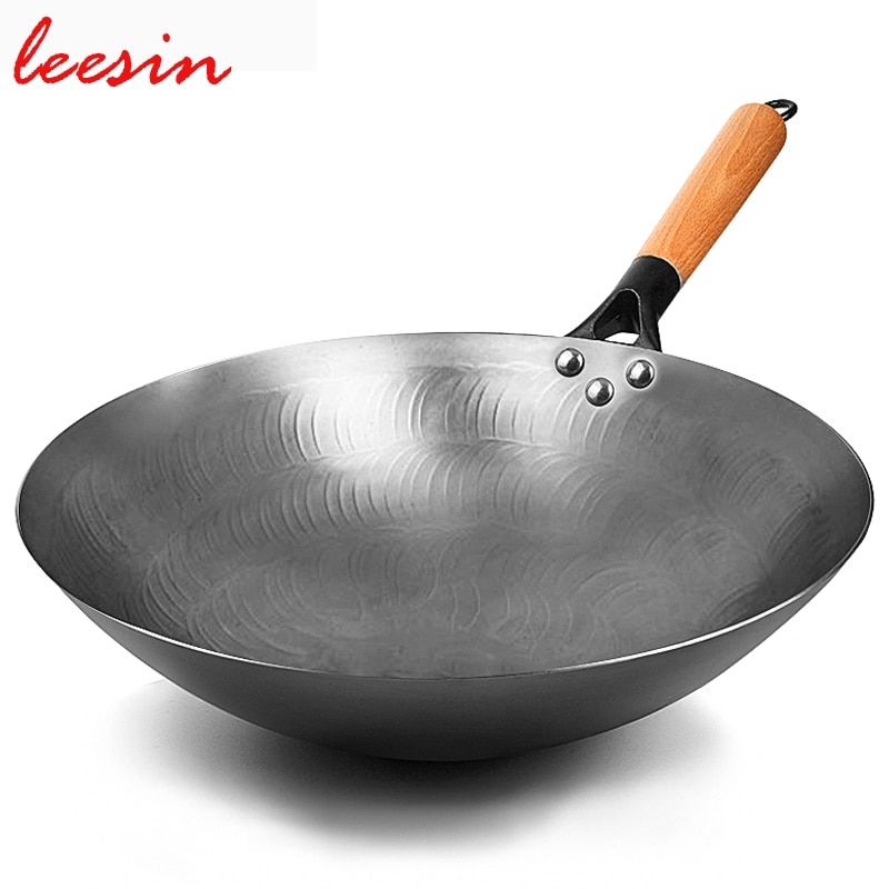 Leesin عالية الجودة غير مصقول الحديد ووك الصينية اليدوية مقلاة ل موقد غاز