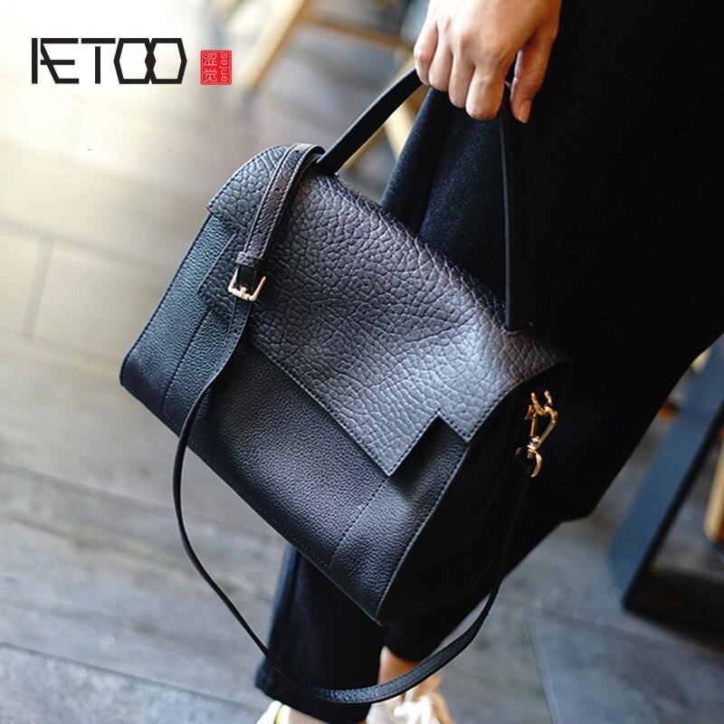 AETOO-حقيبة جلد البقر بتصميم فيل للنساء ، حقيبة يد جلدية بسيطة ، حقيبة كتف مائلة غير رسمية