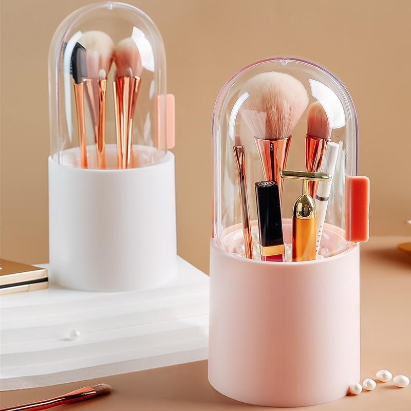 Estuche para almacenamiento de cosméticos para mujer, caja de almacenamiento de brochas de maquillaje, herramienta de maquillaje, esmalte de uñas en pluma, transparente, con cubierta, organizador, cubo