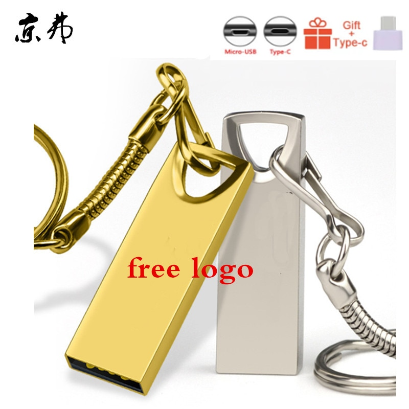 100pcs High Quality USB Flash Drive 16GB 32GB 4GB Pendrive 8GB 128MB 256MB 512MBPen Drive 2.0 Memory Stick Full Metal Print Logo