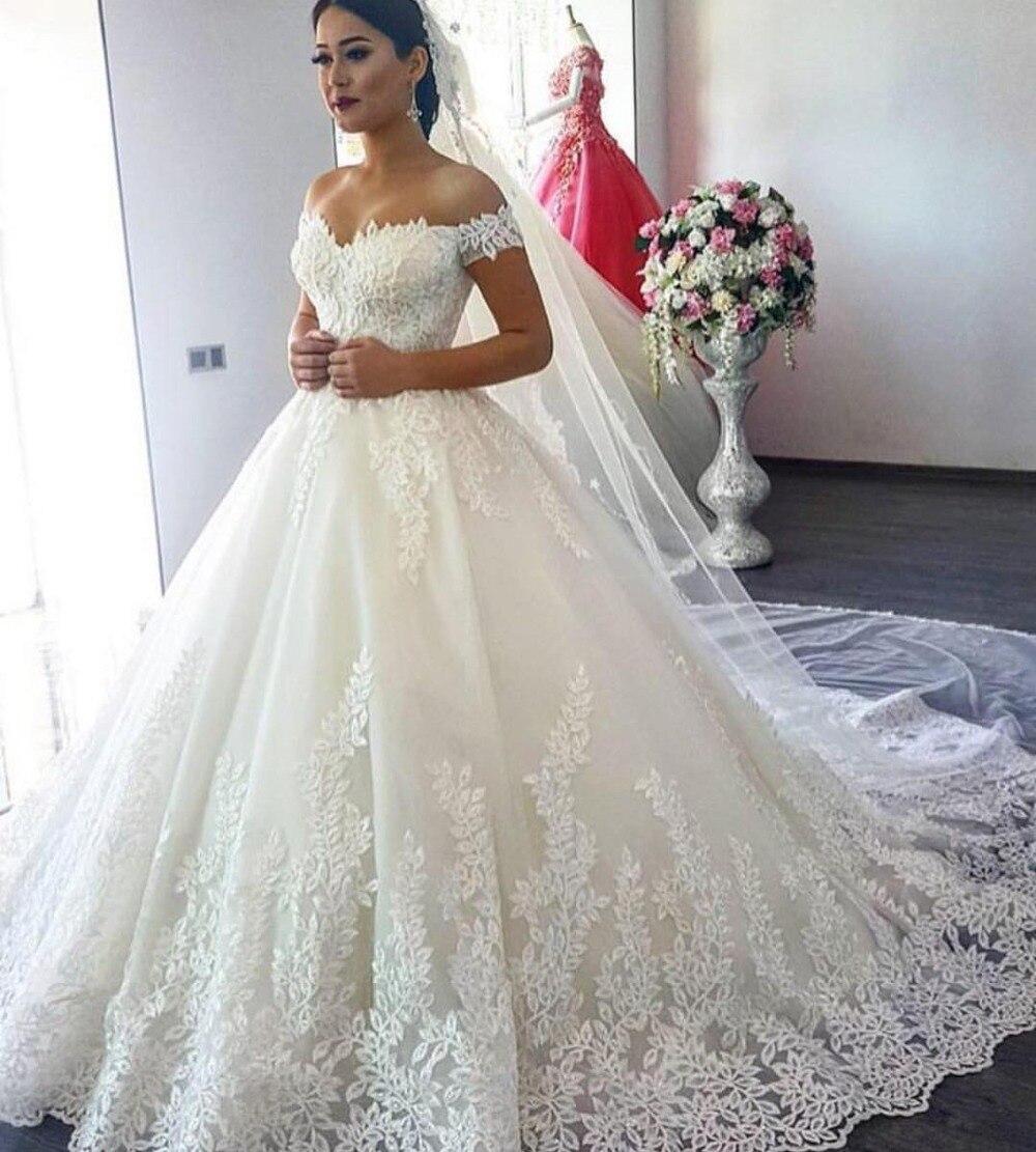 100% real photo Appliques pearls Vintage White Wedding Dresses 2019 Vestidos de Noivas Plus Size Strapless Bridal Ball Gowns