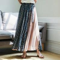 korean fashion skirts womens woman chiffon long skirt women high waist pleated skirt woman print midi skirts faldas mujer moda
