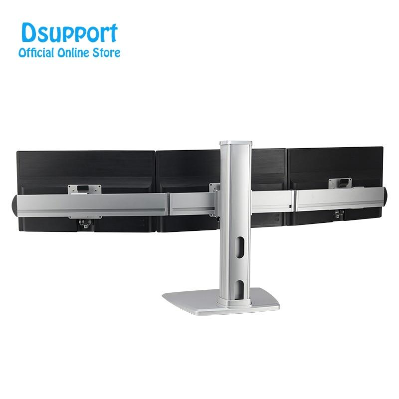 حامل شاشة سطح مكتب ثلاثي من سبائك الألومنيوم ، 24-32 بوصة ، حركة كاملة لضبط الارتفاع ، أقصى تحميل 8 كجم
