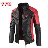 Куртка мужская кожаная флисовая, мотоциклетная теплая байкерская куртка из ПУ кожи, винтажное повседневное пальто в стиле пэчворк, 2021, зима-...