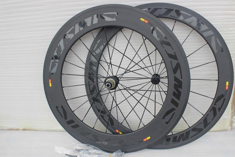 Ruedas de bicicleta de carretera de 60 + 88mm, 700C, 23mm de ancho, juego de ruedas de bicicleta de carretera con freno de basalto cósmico