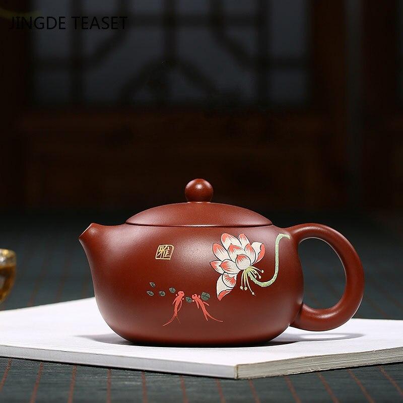 ييشينغ الشاي وعاء اليد رسمت لوتس الأرجواني الطين إبريق الشاي الجمال غلاية الخام خام اليدوية مجموعة الشاي أصيلة 188 الكرة حفرة تصفية 250 مللي