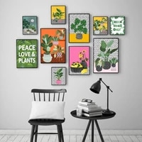 boho wall picture botanical canvas painting tropical plants pot nordic art poster and print home decor for living room bedside