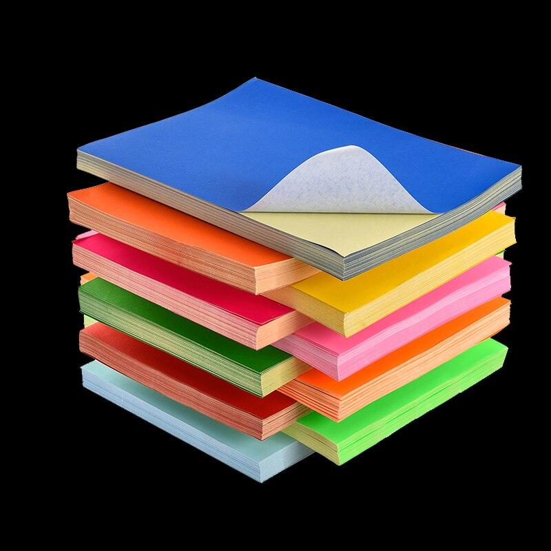 Etiqueta de impresión A4 Color mate papel en blanco rosa rojo DIY impresora de chorro de tinta láser caja de regalo autoadhesiva Manual