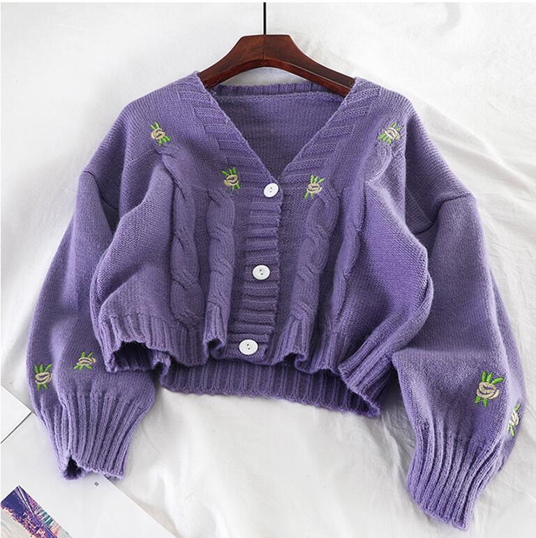 Cárdigan bordado suéter mujer cuello en V suelto suéter de punto de un solo pecho Casual Navidad suéter otoño Chaquetas de punto