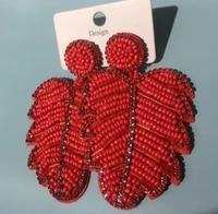 bohemian new burst of hand woven rice bead earrings fashion creativity pop street shoot leaf earrings girl earrings jewelrygifts