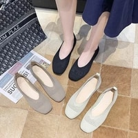 women ballet shoes female breathable knitted square toe moccasins thick heels flat ballerina shallow flats