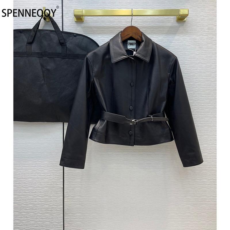 SPENNEOOY مصمم العلامة التجارية الراقية حقيقية سترات من الجلد معطف المرأة موضة طباعة بطانة الأغنام سكين قصيرة أبلى + الزنانير