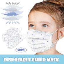 Kids 50pcs Good Quality Disposable 3-ply Breathable Face Ma Sk Lips Care Ear Loops Disposable Msk Tr
