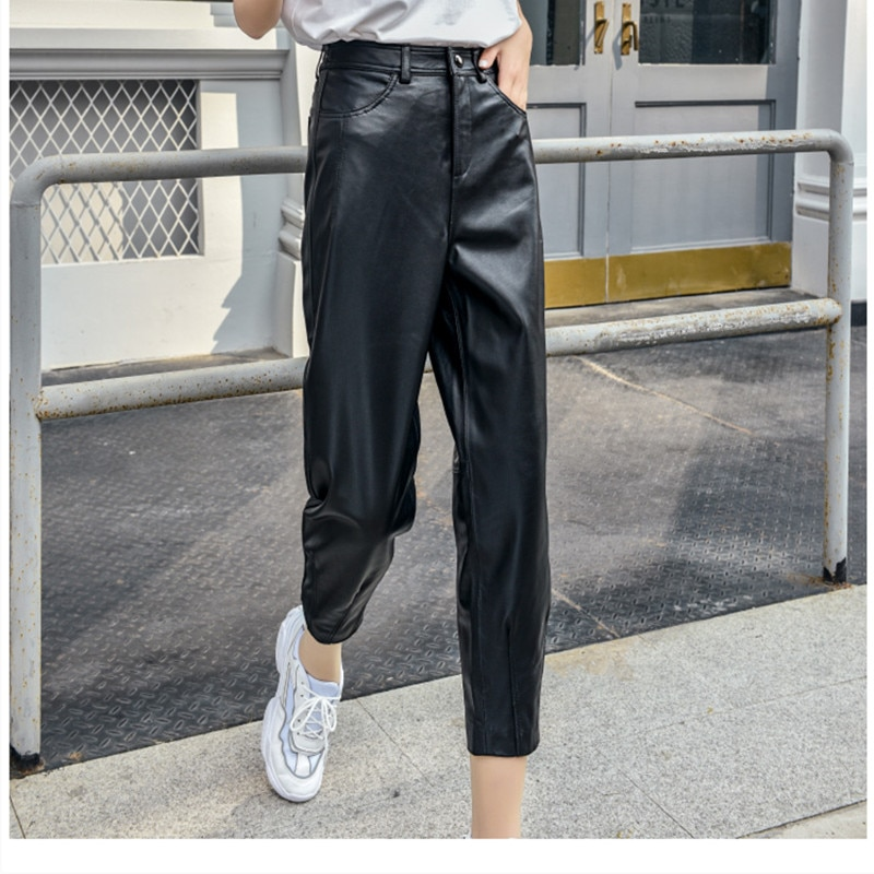 Genuine Sheepskin Red Pants 2021 Autumn And Winter Women's Ankle Length High Waist Harem Pants Thickened Loose Leather Pants 3XL