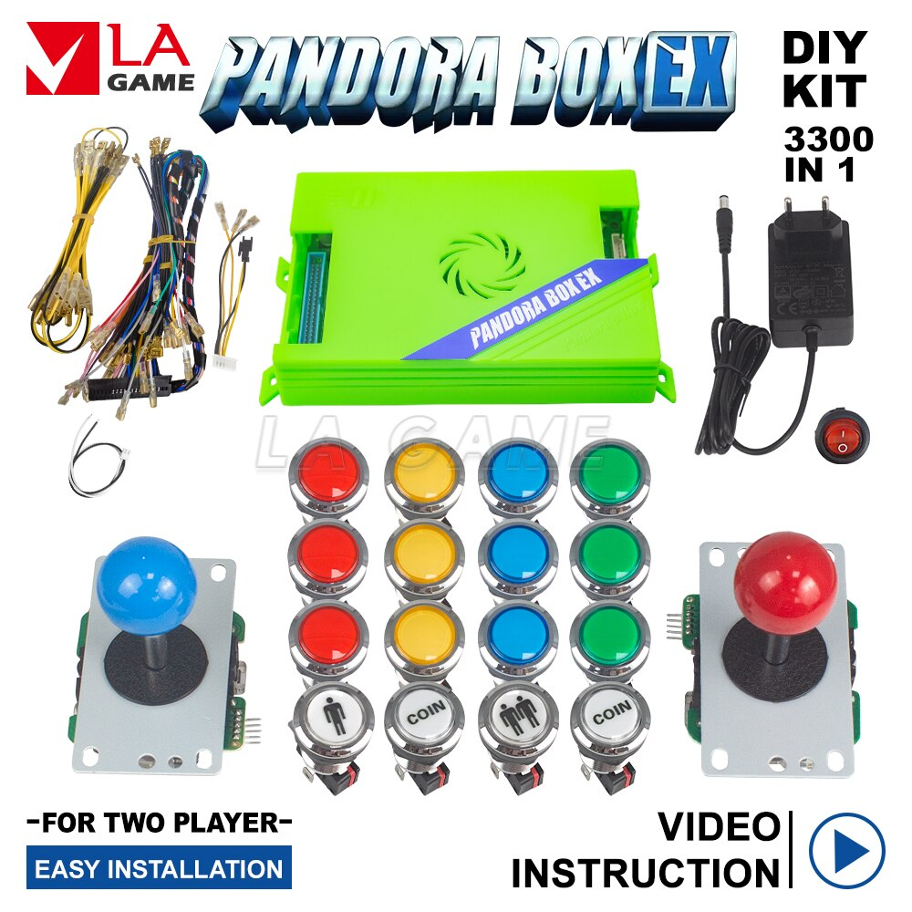 FHD 1080P Diykit Pandora Box Arcade Kit 3p 4p Game Pandora Arcades Diy 3300 in 1 Pandora Box EX Arcade Cabinet Joystick Button