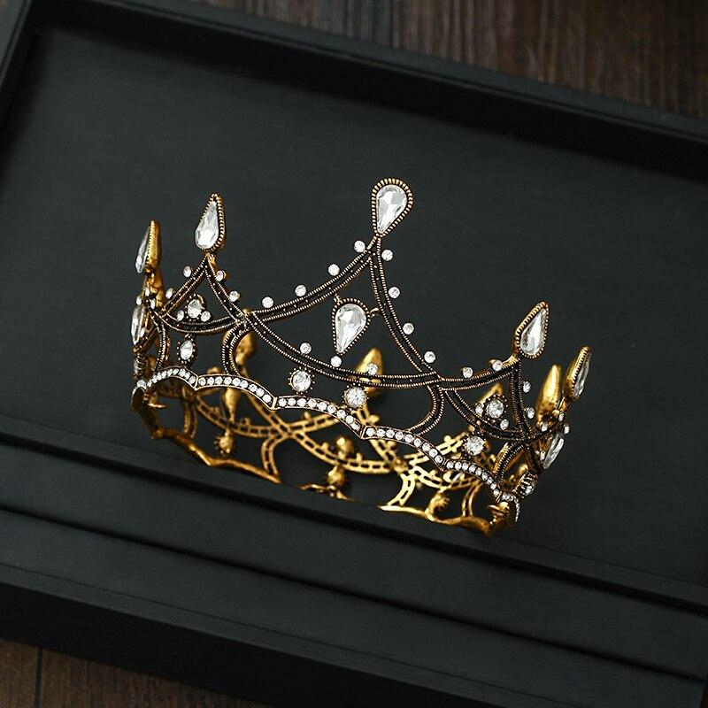 حار 2021 ويتني خمر الذهب معدن الفضة Rhinstone الزفاف إكسسوارات الشعر حفلة تنكرية تاج Coroa دي Noiva