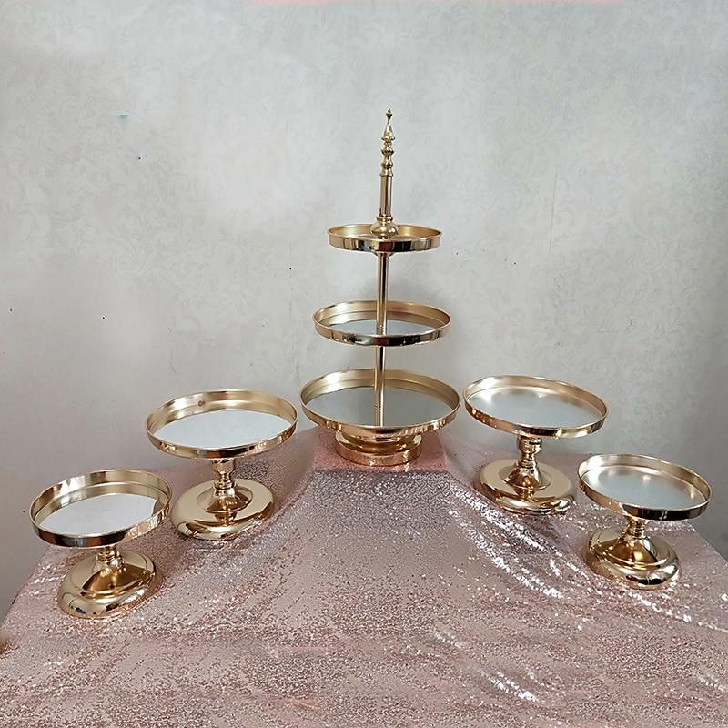 1 UDS-5 uds espejo decoracin de la boda de 2 o 3 de Magdalena de soporte de Metal para pastel