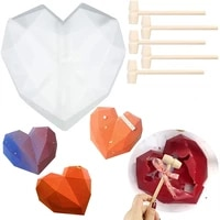 1 pc heart shape silicone cake mold with mini wooden hammers chocolate mousse dessert baking silicone fondant mold diy
