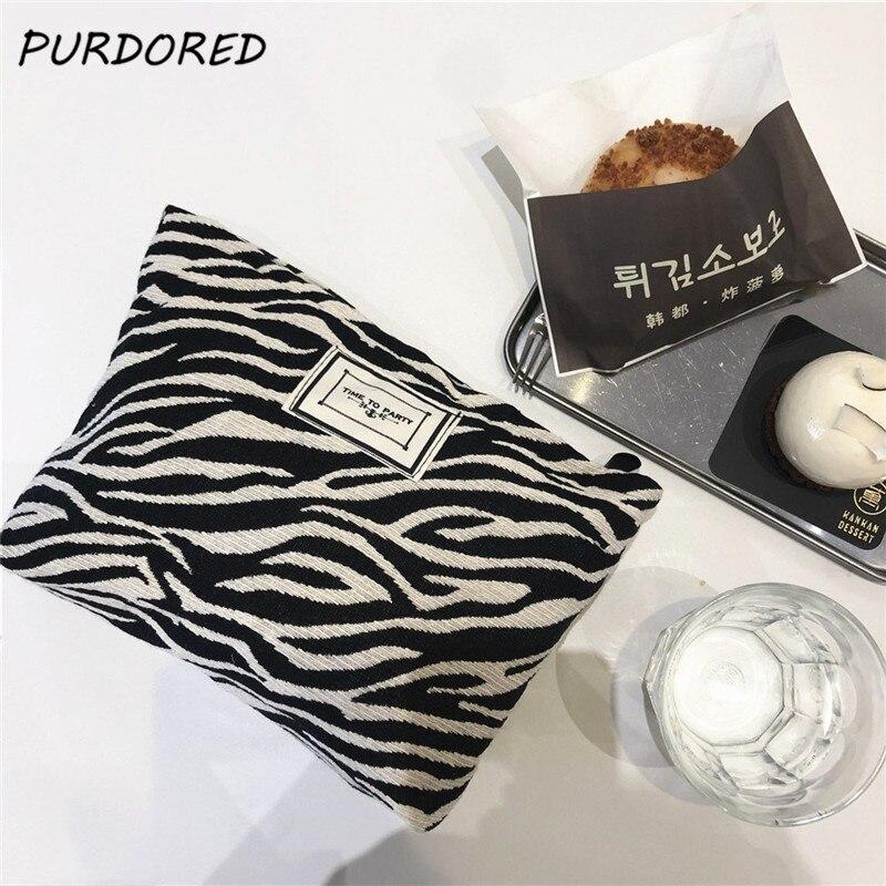 Bolsa de Maquiagem Organizador de Armazenamento Purdored Moda Leopardo Grande Padrão Zebra Bolsa Cosmético Viagem Maquiagem Beleza Case Embreagem 1 pc